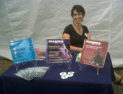 Jacqueline Saphra at the Magma Poetry desk at Ledbury Poetry Festival